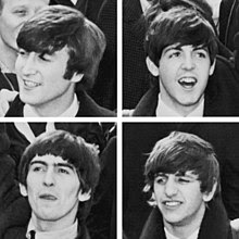 A square quartered into four head shots of young men with moptop haircuts. All four wear white shirts and dark coats.