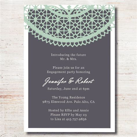 mint green lace printed cheap engagement party invitation