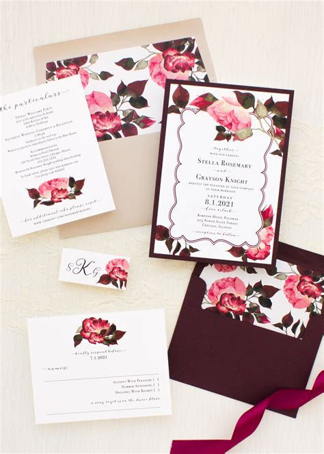 Burgundy Rose Wedding Invitations   Beacon Lane