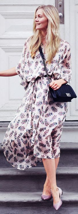 Rodebjer Lilac Floral Button Up Loose Midi Dress