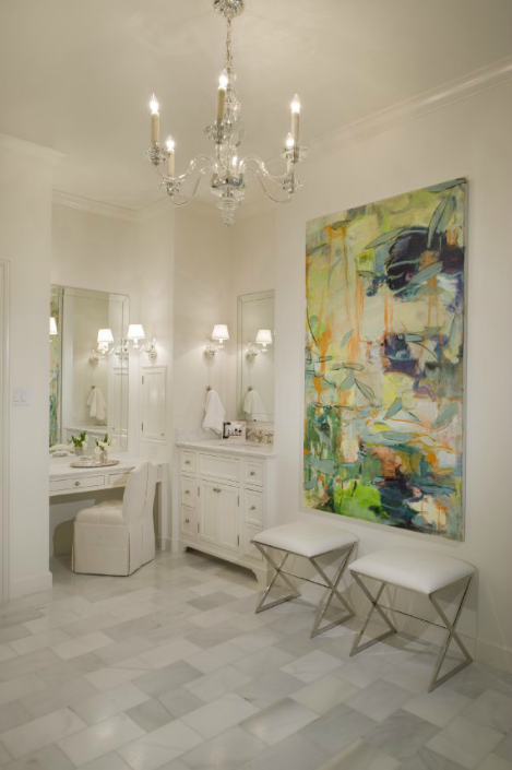 Marble Staggered Tile - Contemporary - bathroom - Munger Interiors