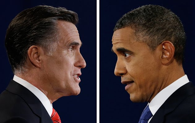 In a photo combo, Republican presidential nominee Mitt Romney and President Barack Obama speak during the first presidential debate at the University of Denver, Wednesday, Oct. 3, 2012, in Denver. (AP Photo/David Goldman/Eric Gay)