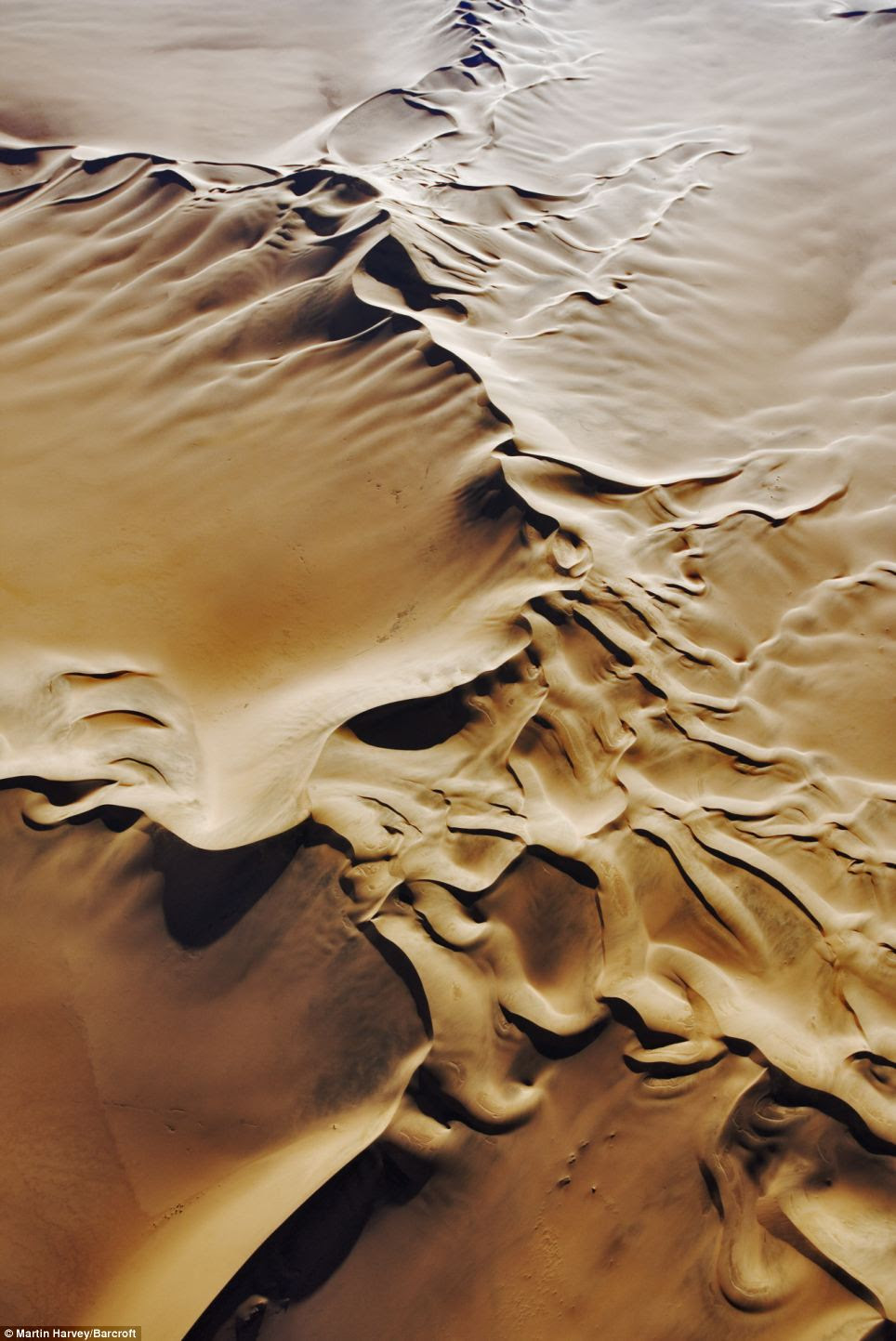 Shifting sands: Another beautiful aerial image shows the sand dunes of the Namib Desert as seen from the air