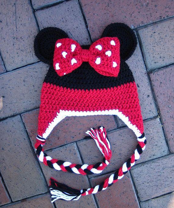 Pattern Minnie Mouse Stripe Crochet Beanie PDF PATTERN by lizzziee, $3.99