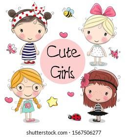 4 Pretty Girl Cartoon Four Friends Images