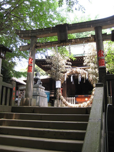 Steps to the traditional Torii gate and Shinto shrine