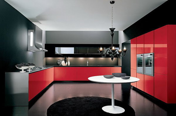 Black And Red Kitchen Country Home Design Ideas