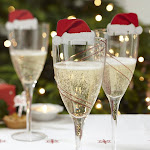 Red Christmas Hat Wine Champagne Glasses