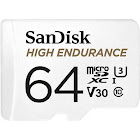SanDisk High Endurance MicroSDXC 64 GB Memory Card with MicroSDXC to SD Adapter - UHS-I U1/Class 10