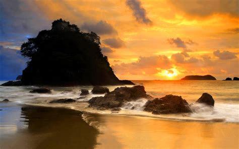 coast beach evening sun wallpaper