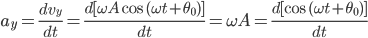 a_{y}=\frac{dv_{y}}{dt}=\frac{d[\omega A\text{ cos }(\omega t+\theta _{0})]}{dt}=\omega A=\frac{d[\text{cos }(\omega t+\theta _{0})]}{dt}