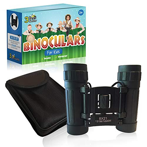 Science ⇒ 3 Bees & Me Binoculars for Kids - Fun Kids Gift for Boys & Girls - Shockproof Kids Binoculars & Travel Pouch - 8x21 Lens - Compact Durable & Easy to Focus - See 10 Football Fields Away