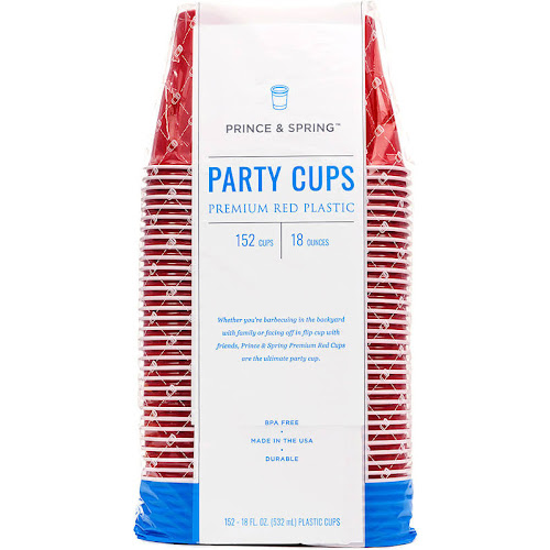 Prince & Spring Party Cups - 152 x 18 oz Premium Red Plastic