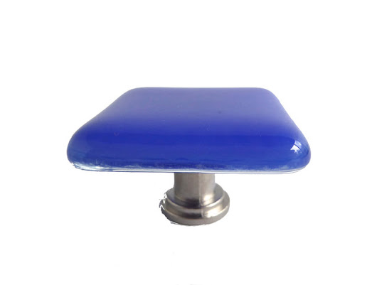 Decorative Fused Glass Cabinet Door Knobs, Cobalt, Satin Nickel - Contemporary - by BPR Designs