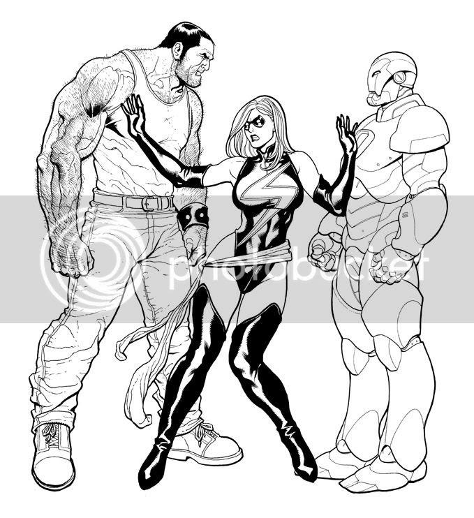 Ms Marvel entre Ares e o Homem de Ferro - Frank Cho