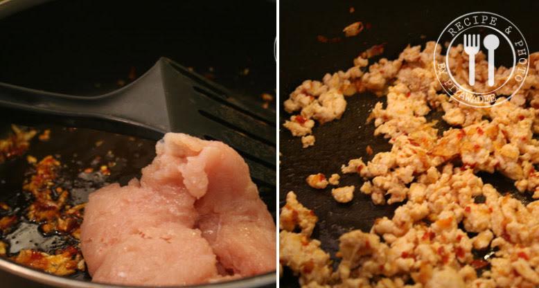 Kipfilet gehakt toevoegen en enkele minuten roerbakken.