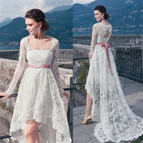 Discount High Low Wedding Dresses Sash In Pink 2016 Square