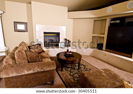 Master Bedroom Sitting Room With Fireplace, Big Screen Tv And Over ...