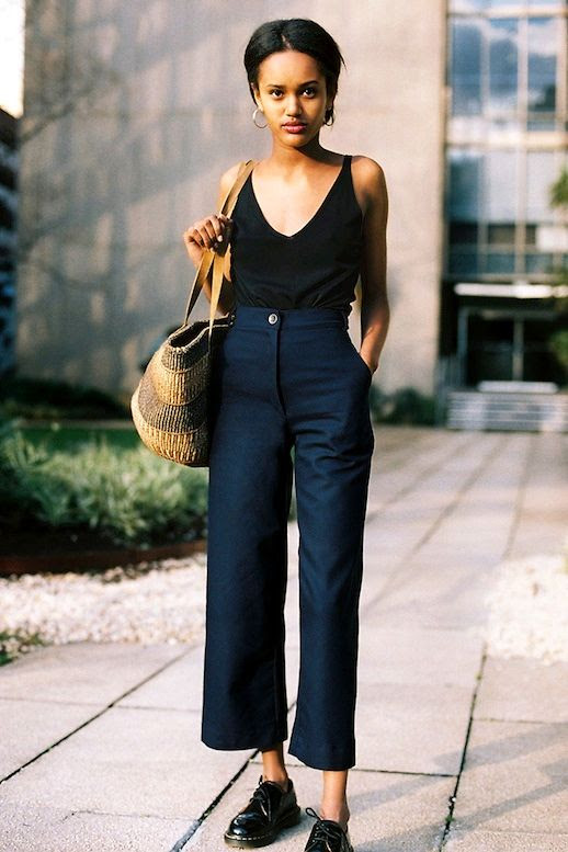 Le Fashion Blog Hoop Earrings Black Cami Tank Basket Tote Navy Culottes Leather Oxfords Via Caves Collective