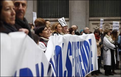 La cabecera de la manifestación, a punto de entrar en la Puerta del Sol, donde finaliza la protesta.
