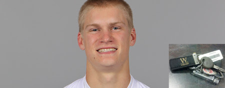 Brenton Bersin of the Carolina Panthers NFL football team (AP Photo), and a photo of his keys (Twitter)