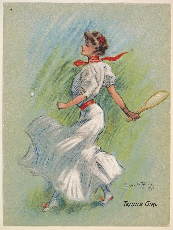 sketch of woman in long billowing dress performing a shot with a tennis racket