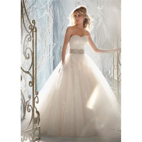 Mori Lee 1959 Lace Tulle Ball Gown Wedding Dress   Crazy