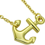 925 Sterling Silver Yellow Gold-Tone Classic Polished Womens Anchor Horizontal Sideways Pendant Necklace