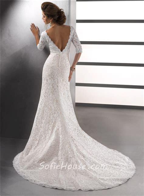 Sexy Mermaid V Neck Empire Ivory Vintage Lace Wedding
