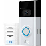 RING Video Doorbell 2 w/Bonus Chime and 1 Year Ring Video Cloud Recording