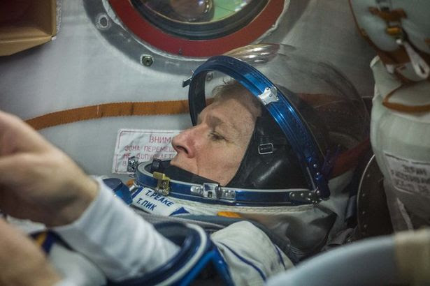 Moon racer: Tim Peake aboard the Soyuz spacecraft