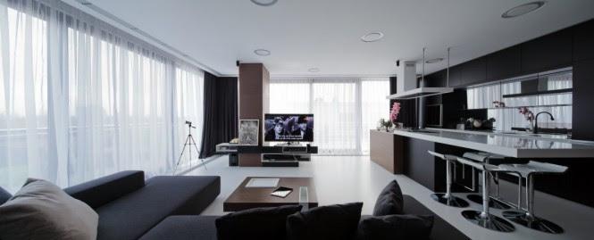 Open plan living room kitchen