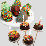 Happy Birthday Strawberries & Brownie Pops by Gourmet Gift Baskets - Chocolate Covered - Gift Baskets