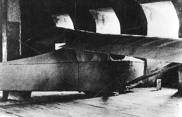 There was one major difference between the original (pictured) and the replica - the Forties glider was built to carry two prisoners, but in 2012 a polystyrene dummy, nicknamed Alex, sat in the cockpit while the aircraft was steered by remote control
