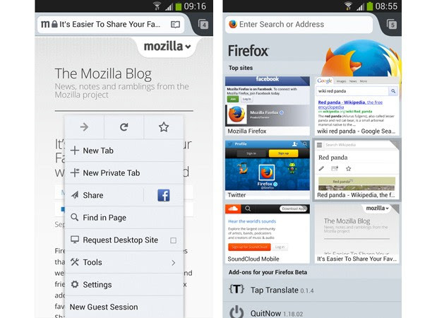 Firefox 25 for Android with guest browsing