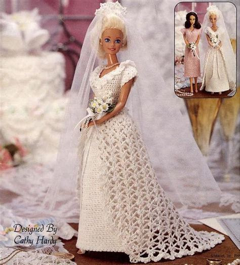 Vintage Crocheted Fashion Doll Clothes Patterns, Wedding