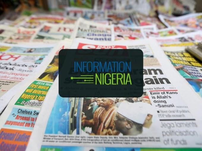 Nigerian Newspaper Headlines Today: 30th April 2020