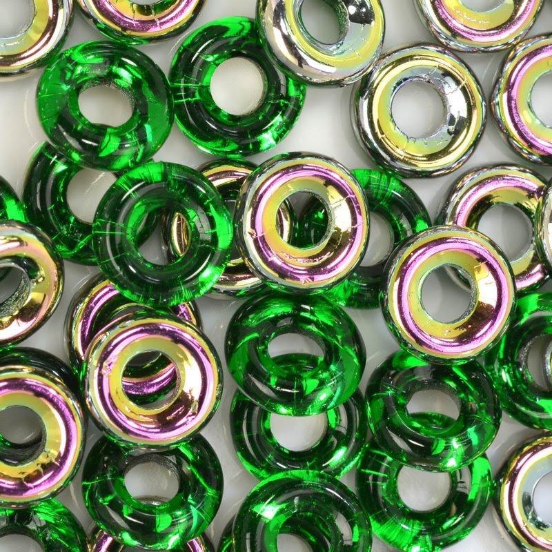 s44720 Glass Rings - 10 mm Cheerios - Chrysolite Vitrail (25)