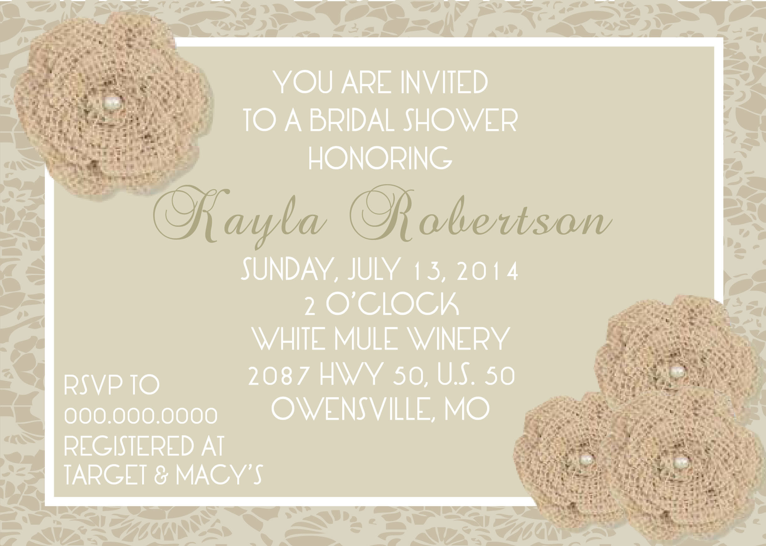 Burlap Lace Bridal Shower Invitation Pure Design Graphics