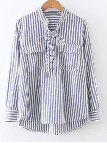 Карманный Полосатый Узелок Блуза - STRIPE S