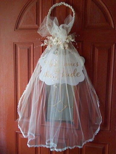Bridal door decoration I made from bride's communion veil