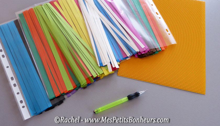 matériel quilling bandes de papier et stylet