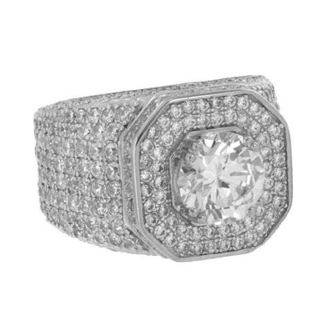 Silver Sterling Ring Solitaire Simulated Diamonds Iced Out