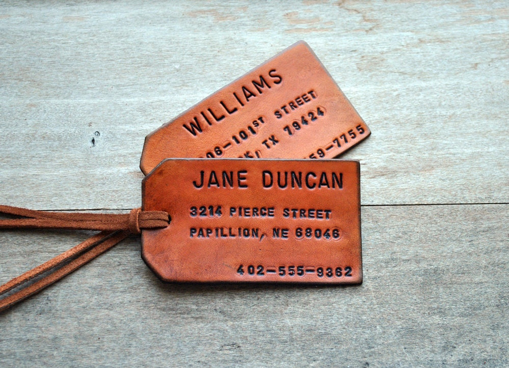 As seen in COUNTRY LIVING. Set of 2 Custom Leather Luggage Tag. Stamped with Your Name, Address, and Phone Number.