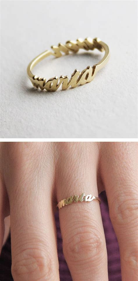 Two Name Ring, 14k Gold Ring, Mother Ring, Sister Ring