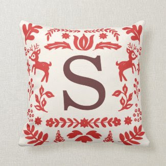 Folk Art Holiday Monogram Pillow
