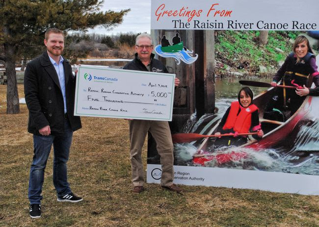 <p>From left to right at the cheque presentation are Jon Pitcher (TransCanada Community Relations Lead Ontario), Roger Houde (RRCA General Manager), Josianne Sabourin (RRCA Administrative Assistant) and Lissa Deslandes (Canoe Race Co-ordinator).</p><p>Handout/Cornwall Standard-Freeholder/QMI Agency
