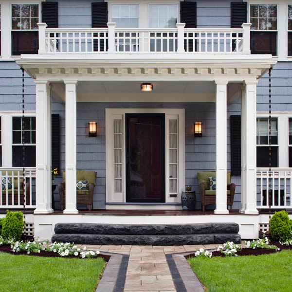 Front Porch With Stone Pillars Archadeck Outdoor Living