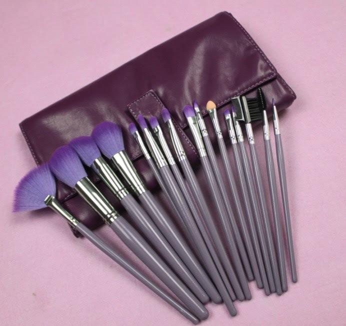 Dark Purple Goat Hair Make Up Brush Set - China make up brush, make up