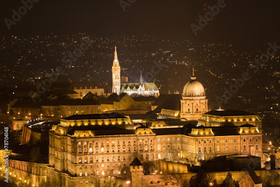 Palace and Castle Hill panorama in Budapest Hungary at night